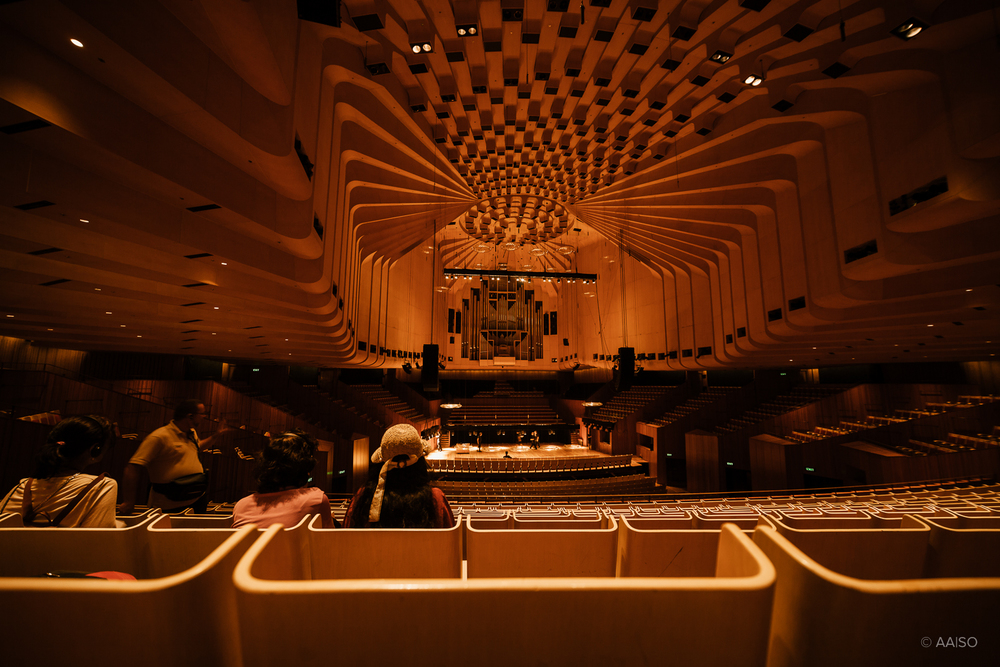 Interior view of Danish architect Jørn Utzon's famous Sydney Opera House
