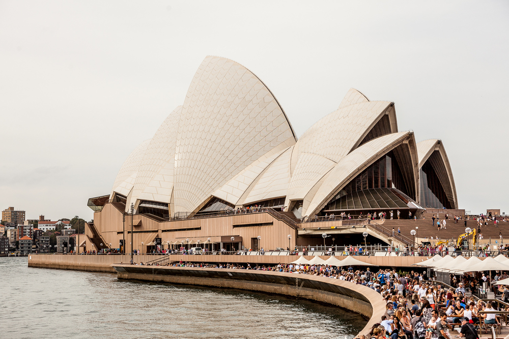 Sydney harbour waterfront with Utzon's famous Opera House