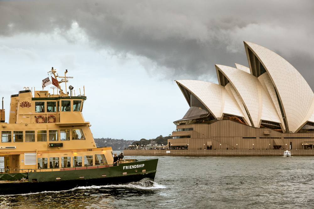 Local ferry in front of the Sydney Opera House