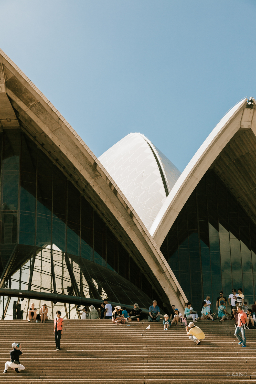 Visitors outside Sydney Opera House