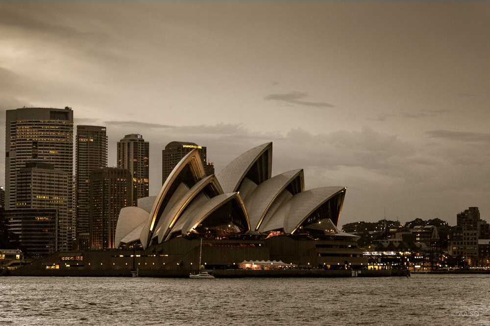 Sydney Opera House, Evening view from the ferry towards Manly