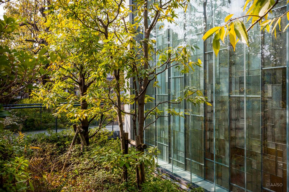 Glass Facade, Shiba Ryotaro Memorial Museum in Osaka, by Tadao A
