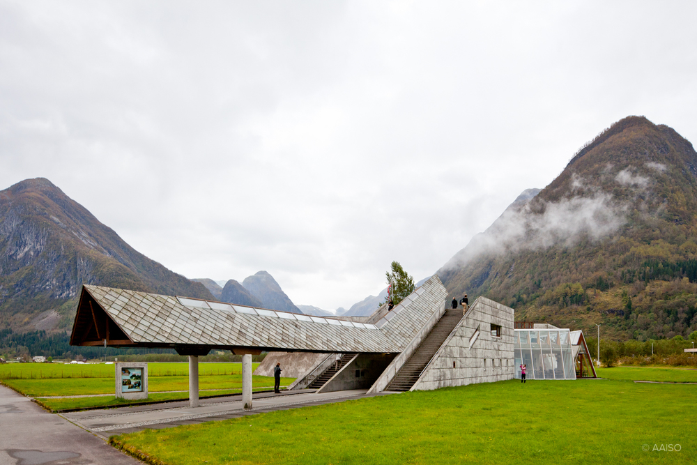 Norwegian Glacier Museum by Sverre Fehn. Entrance, seen from the