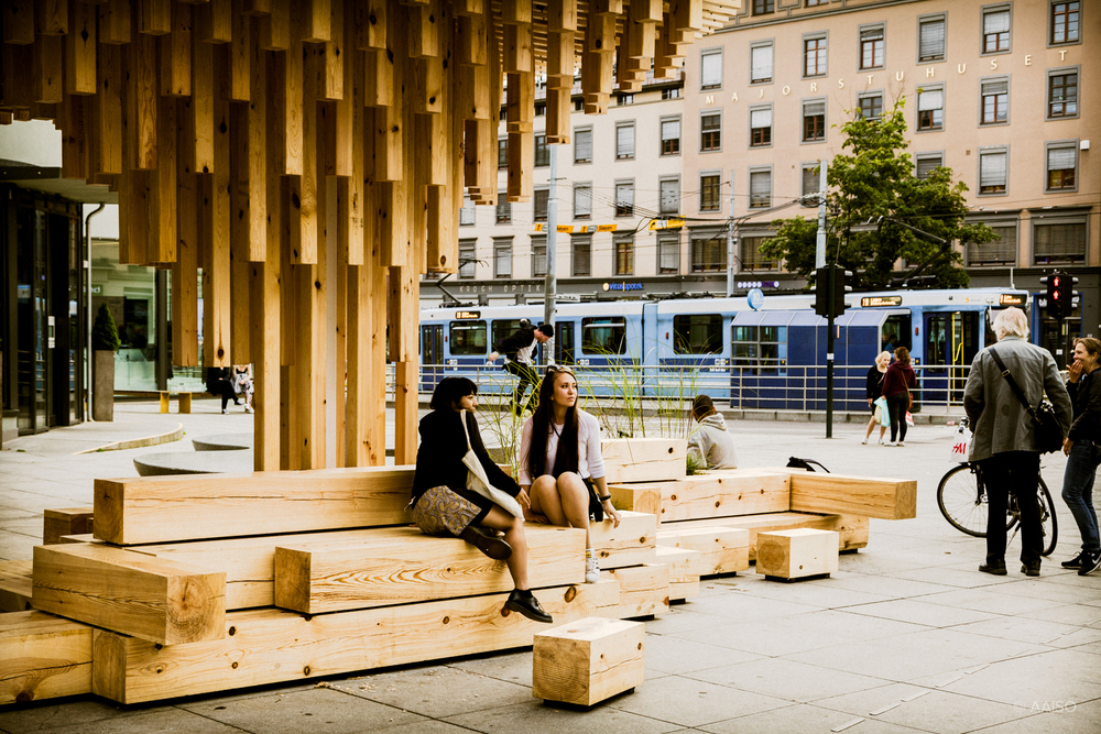 Urban wooden pavillion, by the Trestykker studen workshop