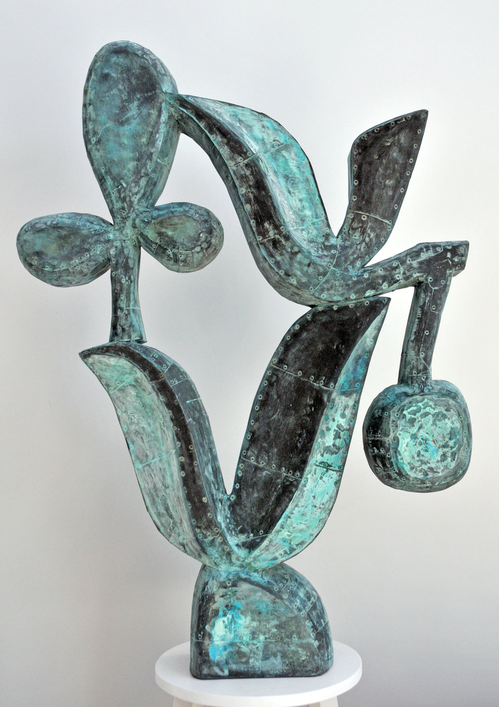 "Hybrid,  Patinated hammered copper over carved wood, 43"" x 32"" x 8"""