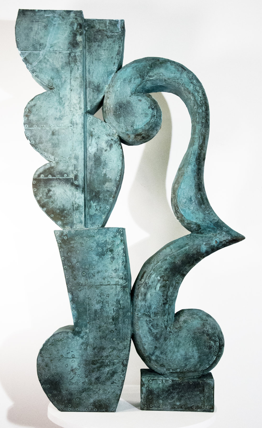 "Sway No.2,  Patinated hammered copper over carved wood, 33"" x 25"" x 5"""