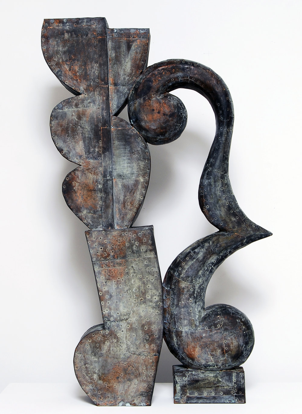 "Sway No.1,  Patinated hammered copper over carved wood, 33"" x 25"" x 5"""
