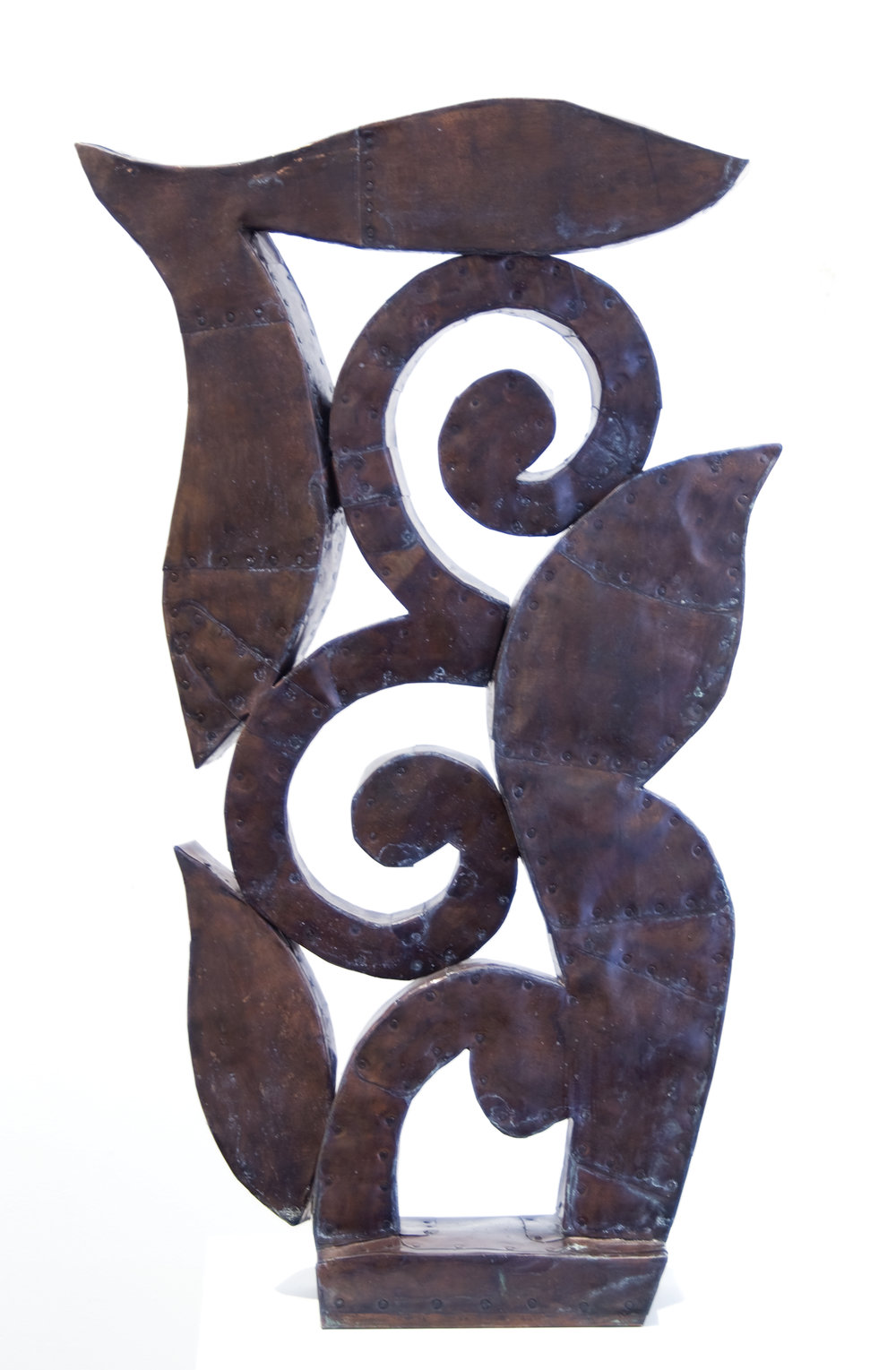 "Sprout,  Patinated hammered copper over carved wood, 33"" x 14"" x 5"""