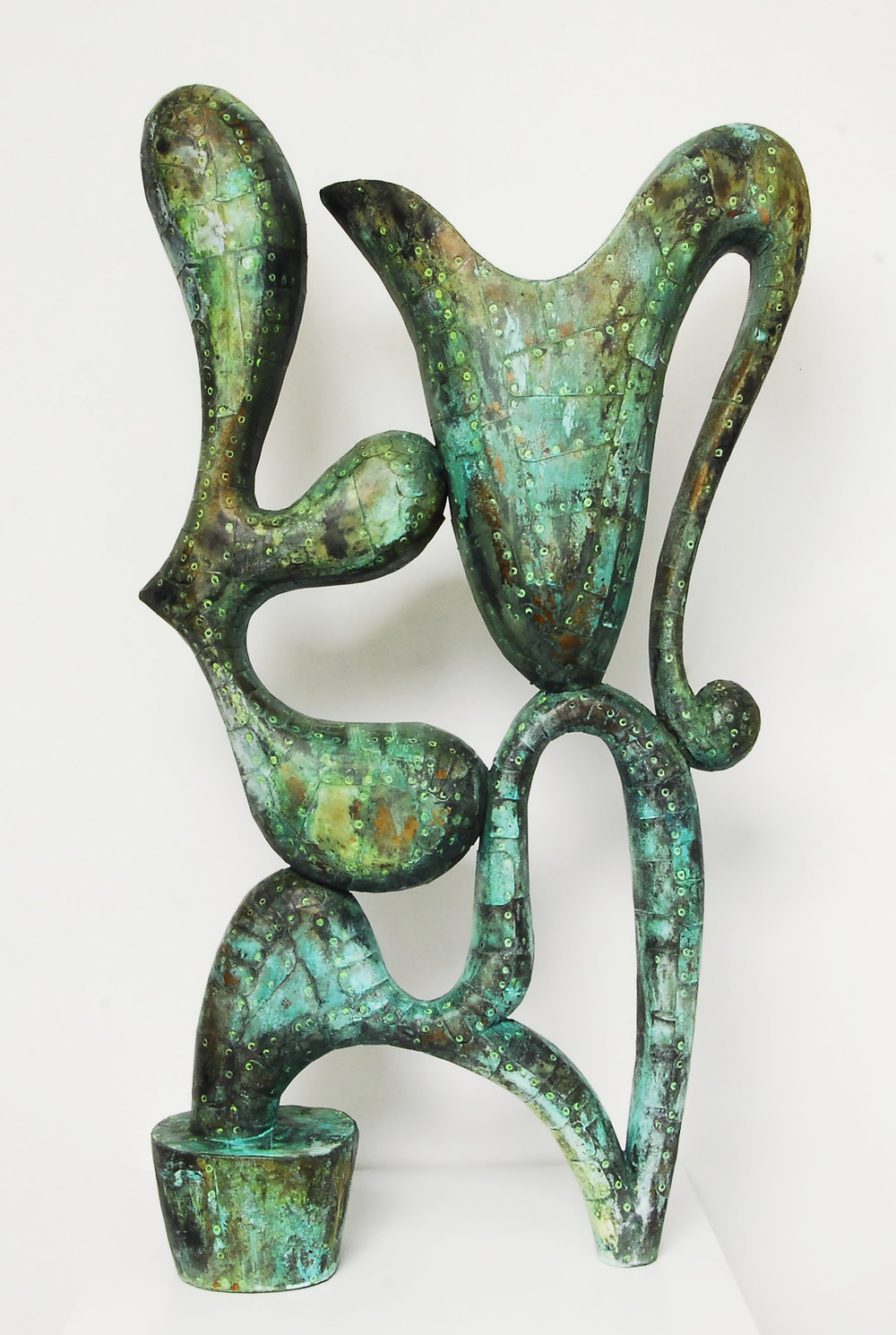 "Crave,  Patinated hammered copper over carved wood, 45"" x 27"" x 8"""
