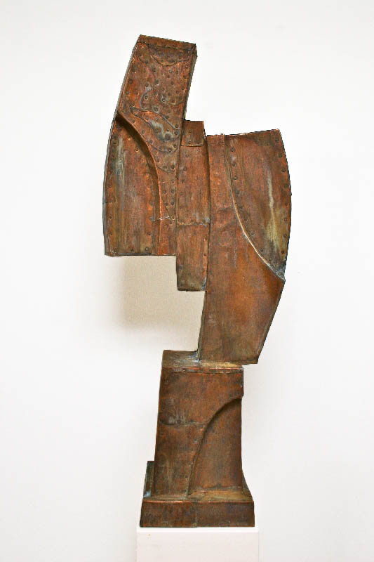 "Captive,  Patinated hammered copper over carved wood, 34"" x 19"" x 5"""