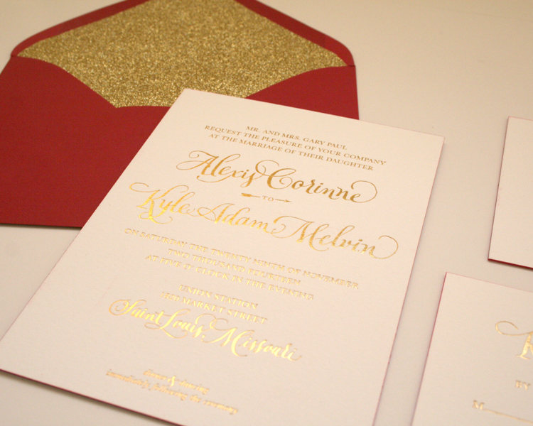 220# lettra paper (that means THICK) with red painted edges, gold foil, spot calligraphy and gold glitter envelope liners