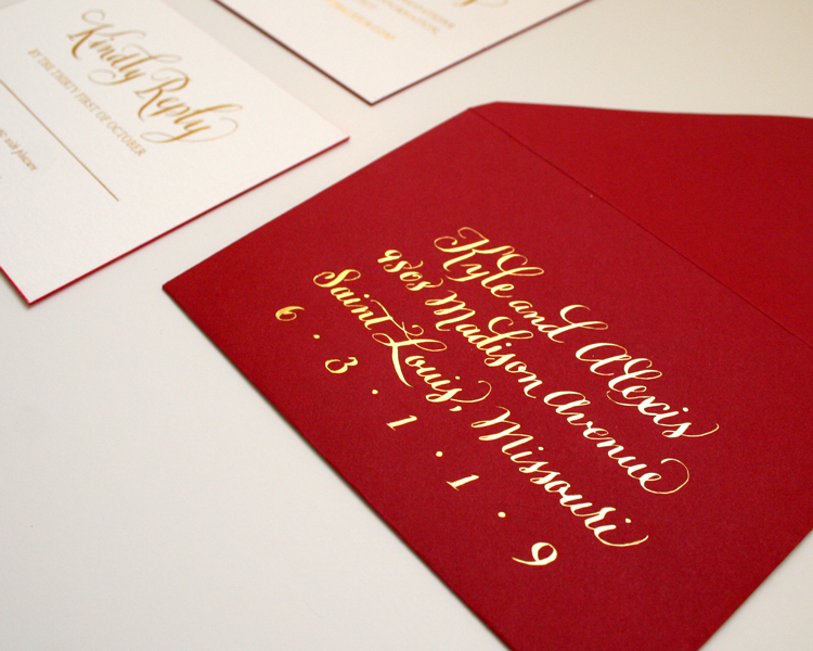 Return envelopes with gold foil