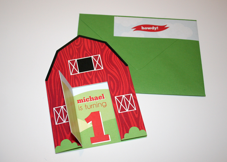 I knew the invitations needed to be something special for little Michael, so I decided to go with this custom cut barn that gave a little peek-a-boo to what was inside.