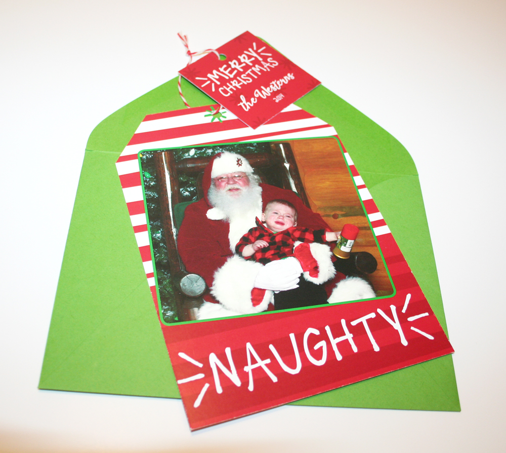 Naughty... a fun gift tag shape that can be hung on the tree!
