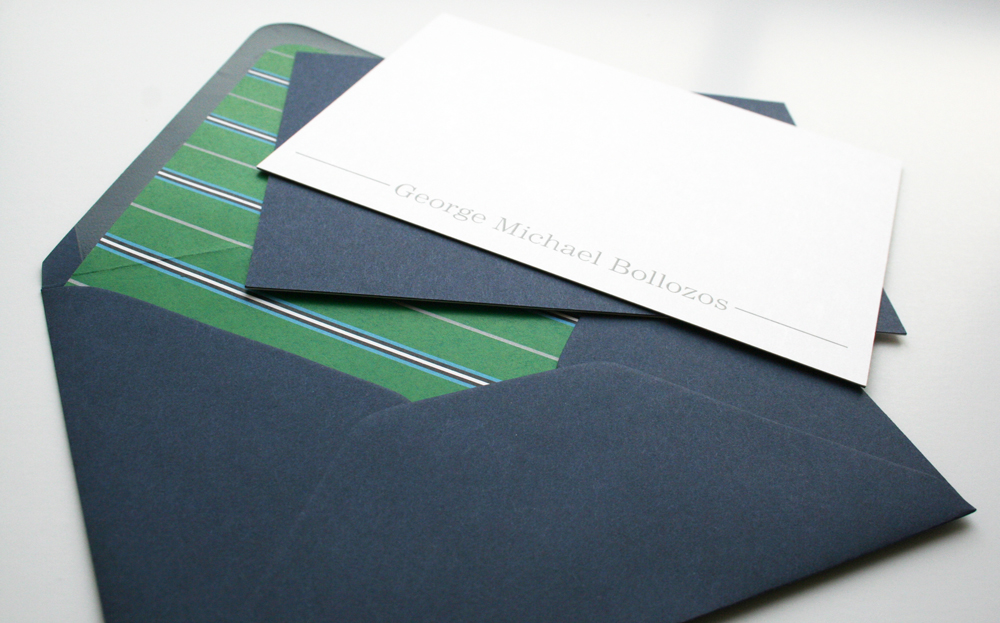 The envelope liners were inspired by a tie found at Brooks Brothers.