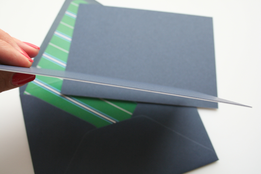 Navy Paper Source cover stock was duplexed with a white sheet of 120# paper to make these super thick and durable. (Your friendly design tip for the day: Duplexing is the pasting of two sheets together, making one thicker sheet in the end. 120# white + 100# navy = thick!)