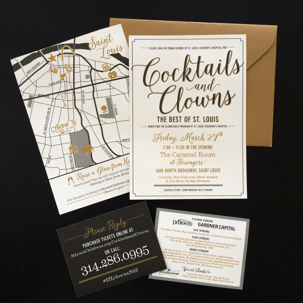 1. Cocktails & Clowns Invitations for St. Louis Children's Hospital