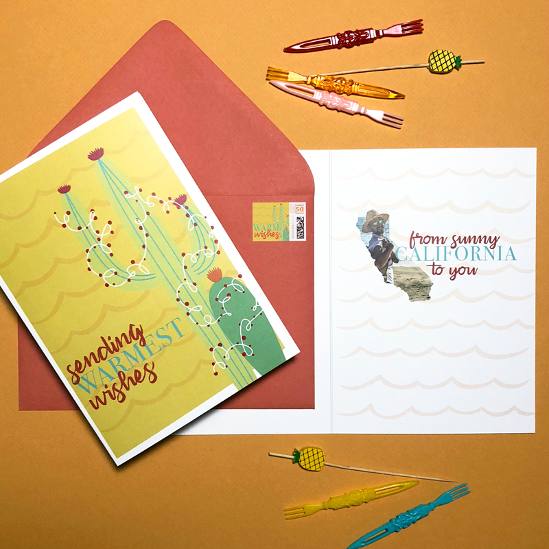 "3. Cali Cards for a Cali Boy: When the California golden boy himself asked me to design his 2018 Christmas cards, I simply said ""say no more."" Signed, sealed & delivered, complete with custom cactus stamps!"