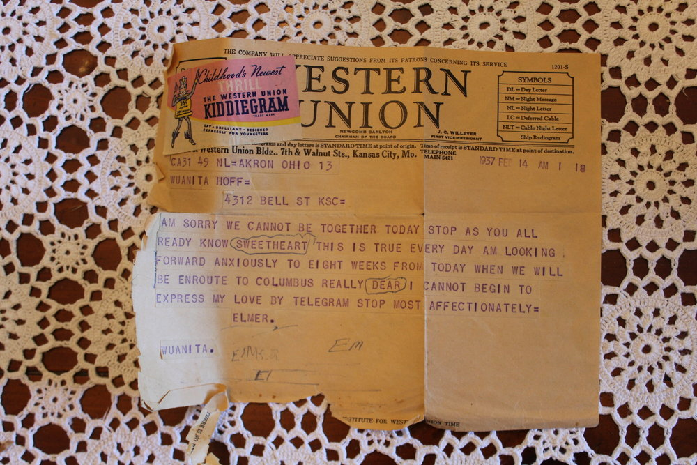 A telegram my grandfather Elmer sent to his fiancée Juanita for Valentine's Day in 1937, 8 weeks before they were married.