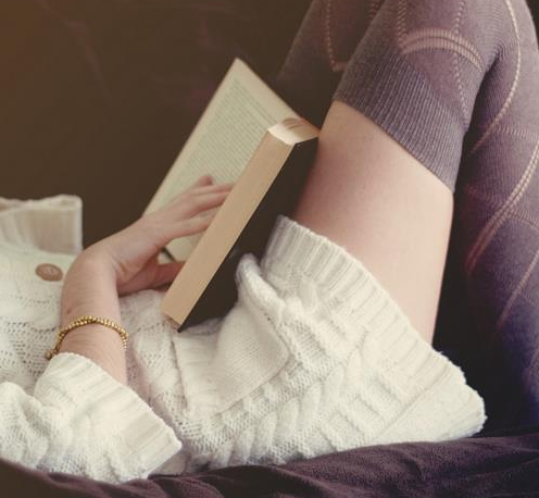 Chunky knit sweater? Check. Entertaining read? Check. Cozy adorable leggings? Check. Relax!