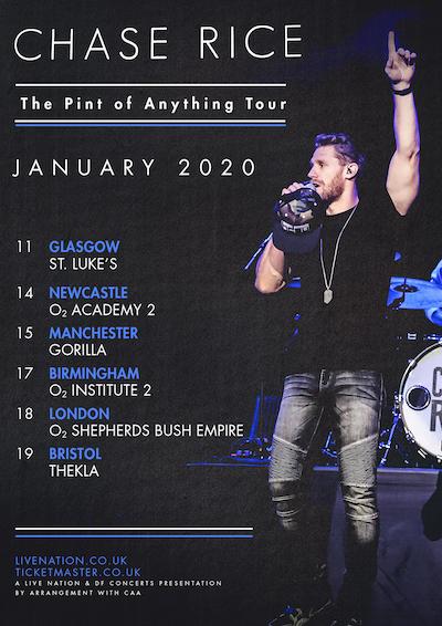 Kenny Chesney 2020 Tour Chase Rice announces UK/European headline show for January 2020