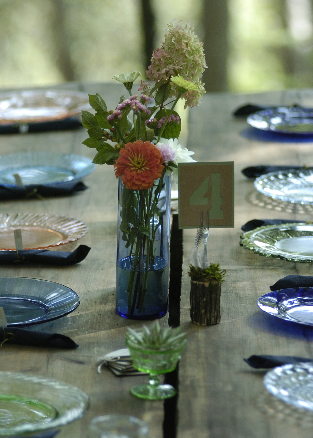 Vintage Depression glass plate rentals