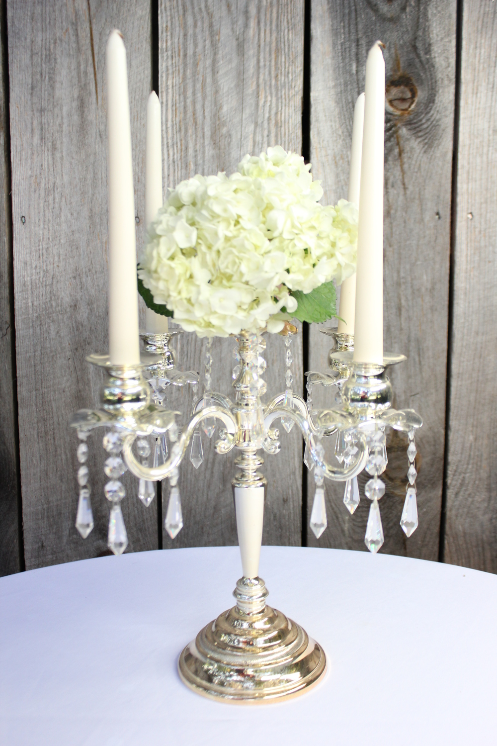 Candelabras                             Platinum - Silver - White - Black - Gold Several Styles / Sizes -  $8 - $15 each