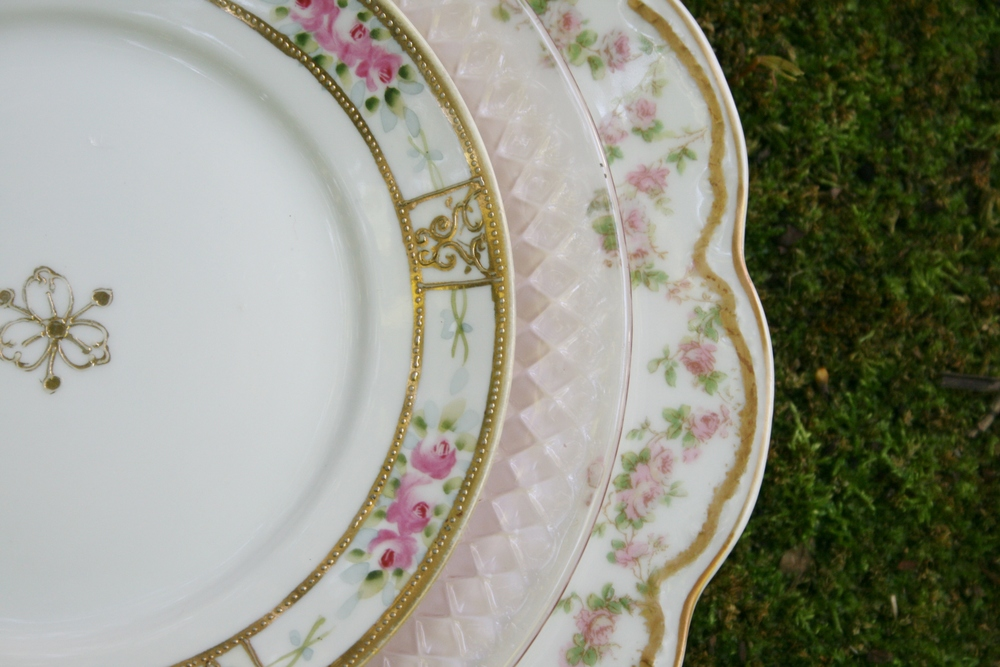 Vintage pink china and Depression glass rentals