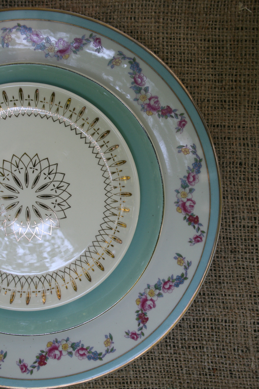 Vintage mismatched china rentals