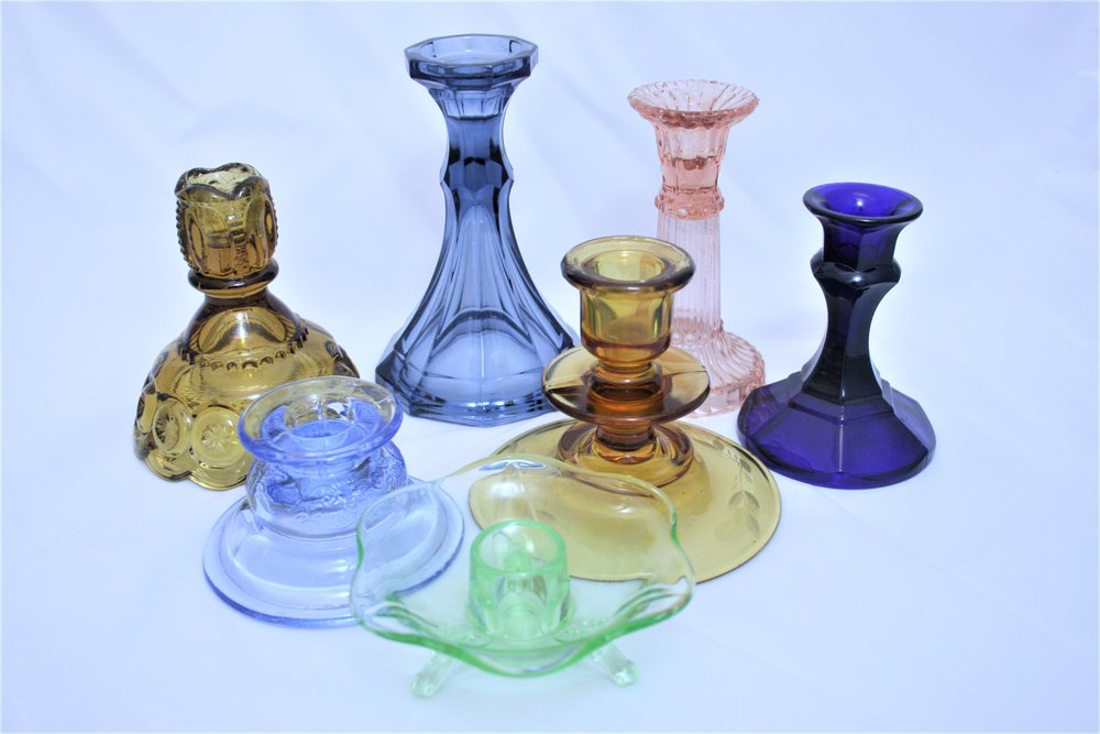 Depression Glass Candle Holders - variety of colors