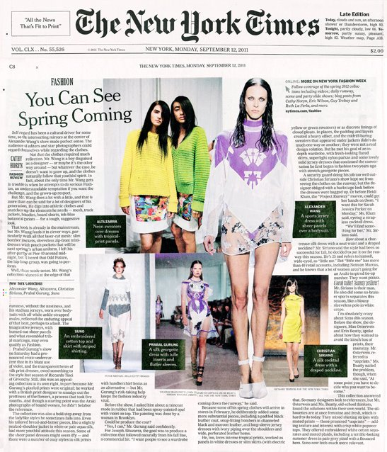 Alexander Wang - New York Times - September 12, 2011