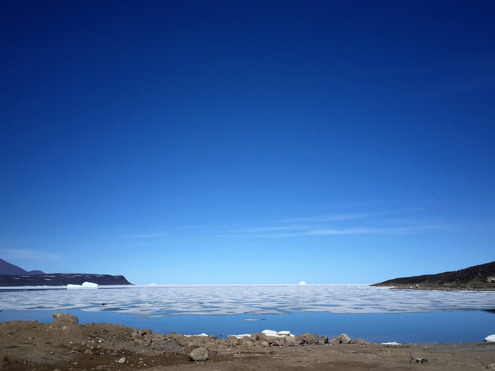 The Bay; it is the small pair of bergs on the left that we visited in February