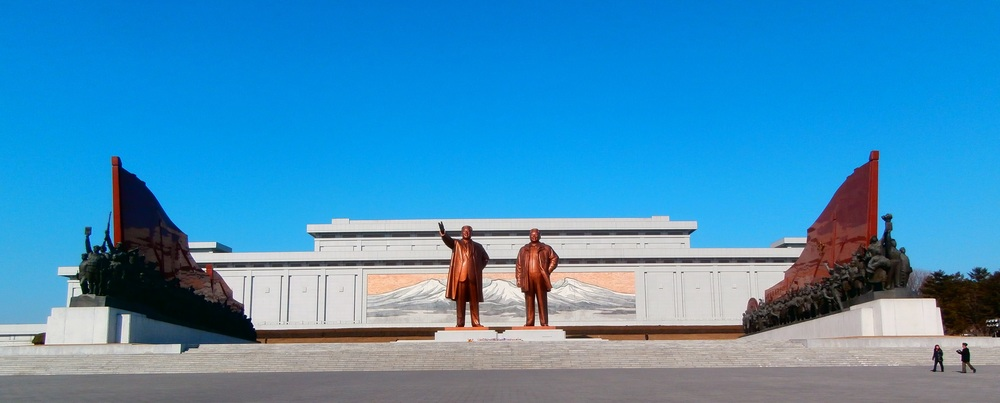 Statue to the Two Kims, Pyongyang, North Korea