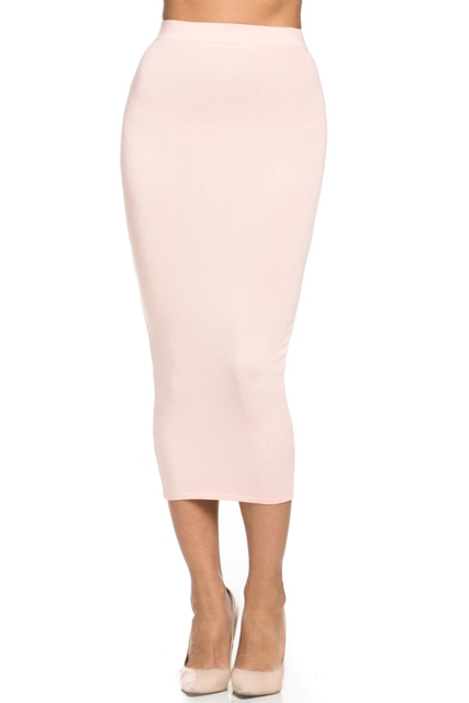 Knitted Fitted Pencil Skirt - Blush — Love|Labels