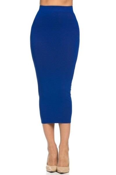 Knitted Fitted Pencil Skirt - Royal Blue — Love|Labels