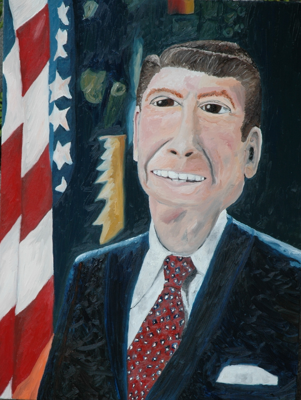 40th President of the United States (1981-1989). Californian Chief. Hollywood Cowboy.   Noah Charles Weissman-  King Kong Ron  (oil: 48 x 72')