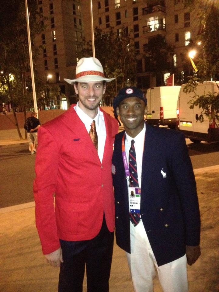 Kobe and Pau at the opening ceremony