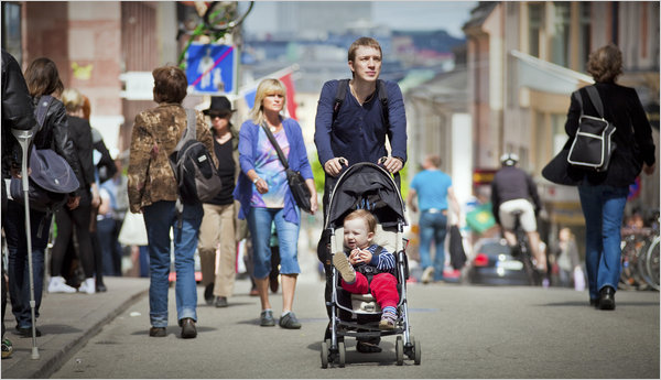 "THE FEMALE FACTOR   In Sweden, the Men Can Have It All    SPOLAND,  SWEDEN  — Mikael Karlsson owns a snowmobile, two hunting dogs and five guns. In his spare time, this soldier-turned-game warden shoots moose and trades potty-training tips with other fathers. Cradling 2-month-old Siri in his arms, he can't imagine not taking baby leave. ""Everyone does.""     From trendy central Stockholm to this village in the rugged forest south of the Arctic Circle, 85 percent of Swedish fathers take parental leave. Those who don't face questions from family, friends and colleagues. As other countries still tinker with maternity leave and women's rights, Sweden may be a glimpse of the future.     In this land of Viking lore, men are at the heart of the gender-equality debate. The ponytailed center-right finance minister calls himself a feminist, ads for cleaning products rarely feature women as homemakers, and preschools vet books for gender stereotypes in animal characters. For nearly four decades, governments of all political hues have legislated to give women equal rights at work — and men equal rights at home…    for the rest of the article peep nytimes:    http://www.nytimes.com/2010/06/10/world/europe/10iht-sweden.html?pagewanted=1&hp"