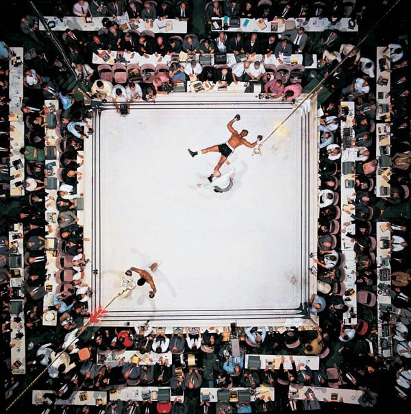 THE GREATEST: Incredible shot of a 1966 Muhammad Ali vs. Cleveland Williams fight, taken 80 feet above the ring at The Houston Astrodome BY Neil Leifer.