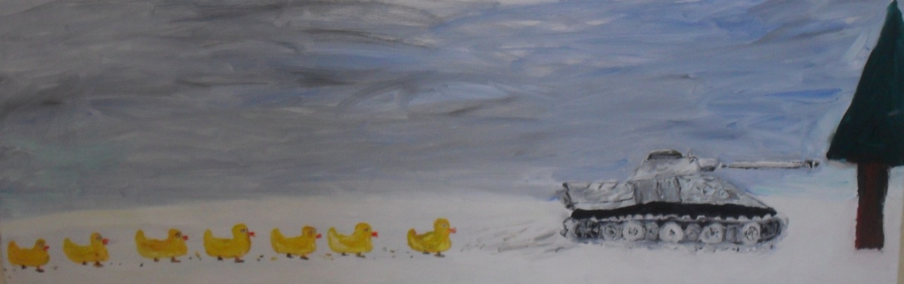 Noah Charles Weissman- Blitzkrieg and the rubber duckies meet Miss Winter, Mother Russia, and Tree (oil: 90 x 30') Define: Russian Winter- http://en.wikipedia.org/wiki/Russian_Winter Blitzkrieg- http://en.wikipedia.org/wiki/Blitzkrieg Name that movie: Vasilli: In the forest, the wolf lives for three years and the donkey for nine.  Tania: That must be a proverb from the Urals, it makes no sense to me.  Vasilli: The donkey lives longer because he's more useful.  Tania: There aren't any donkeys in the forest, you made it up.