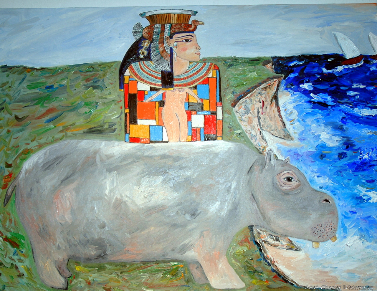 the sun never sets on power moves. Noah Charles Weissman- What if… (72 x 48' oil) cleopatra and the hungry hungry hippo reflect over lost love that is sailing away.
