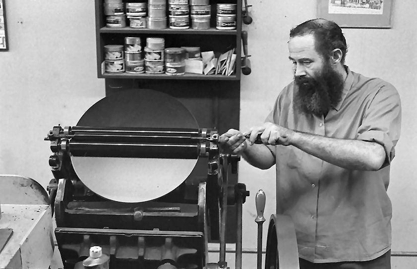 A large Platen Press. This photo was used in the Heavenly Monkey tribute article about Wil photo collection Sean Johnston 1970-08