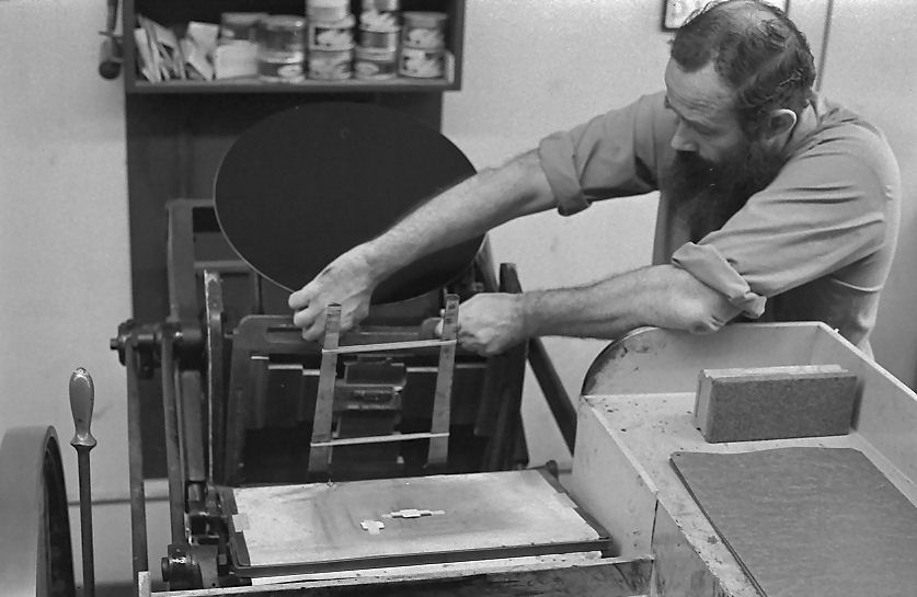 Wil removing the chase after printing the business cards for the photographer of these photos HH Johnston. Collection of Sean Johnston 1970-08