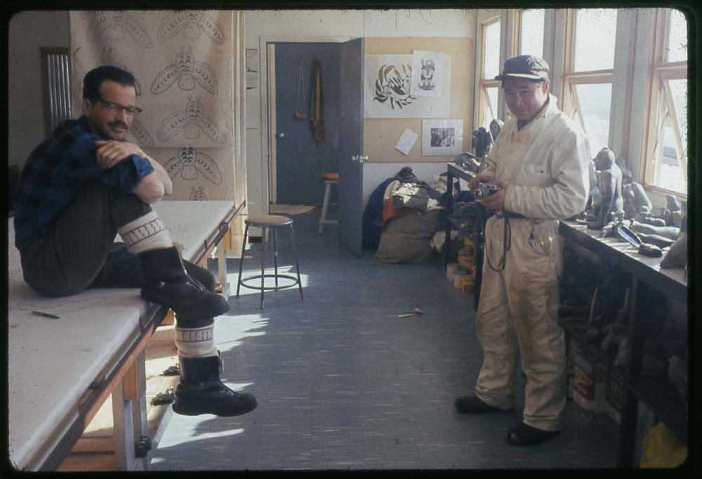 Bob Paterson also know as Siqpik and Iqaluk Pingwartok holding the camera. Fabric, carvings stencil stone cuts,what energy, this room still exists today.