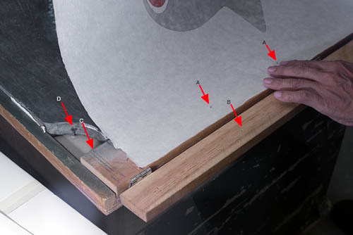 A are the pins that have just been pushed through the paper. B are the holes that receive the ins when the top bar is closed and secures the paper while printing. C are guide marks that the printer uses to orient the paper to the jig and the image. D is a wood screw used to secure the block to the base of the jig.