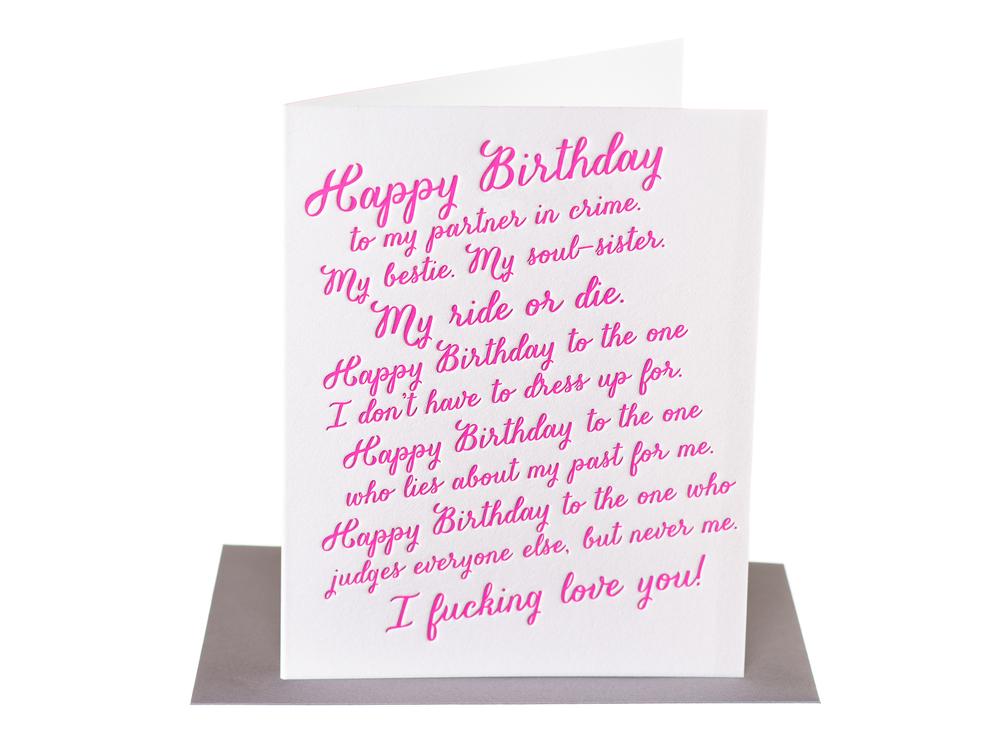Happy Birthday to my bestie My Ride or Die Paper Epiphanies – Happy Birthday to My Sister Cards