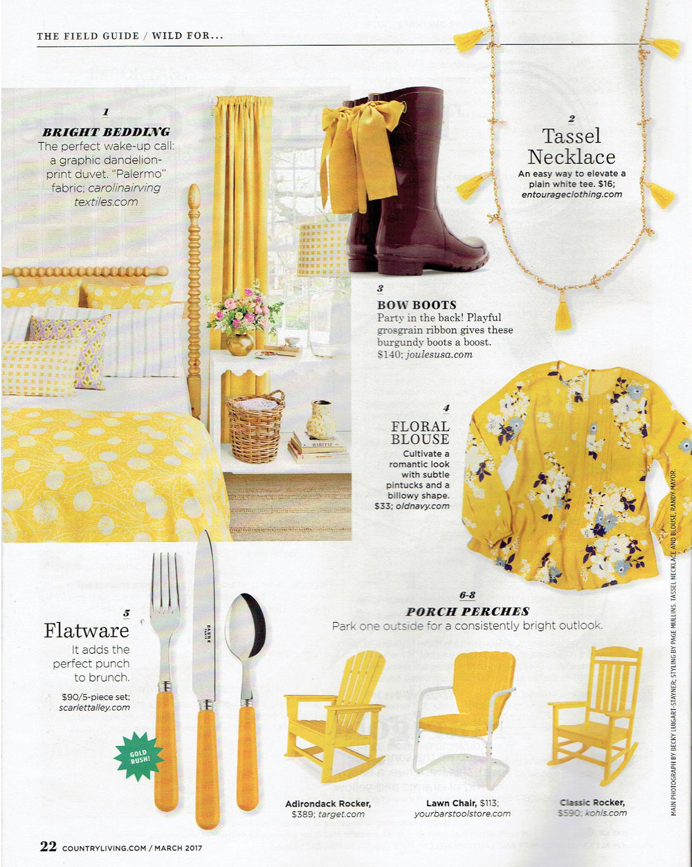 Country Living March 2017 : The Field Guide / Wild for ... : Featuring  Palermo (Mustard)
