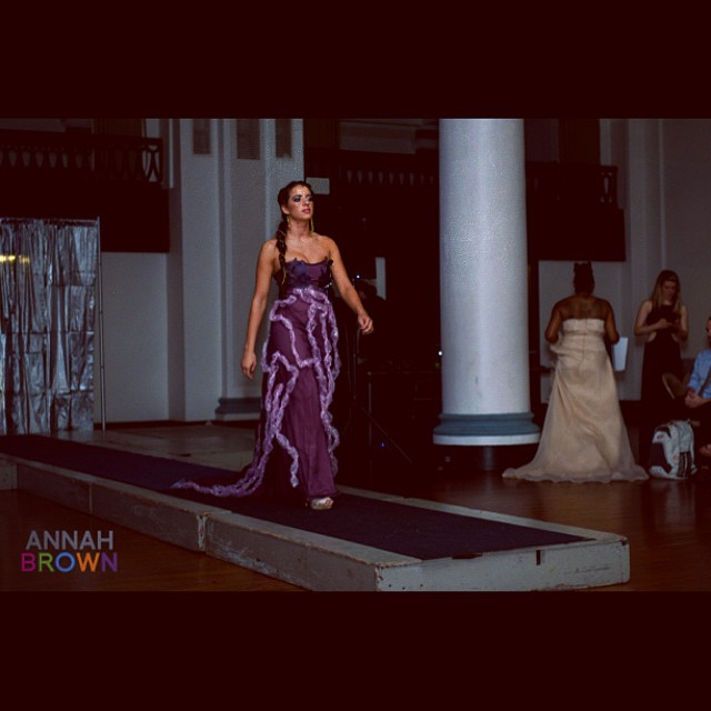 @annahbrownphotography. Model Demi wearing masquerade octopus inspired gown designed by @kari_j_larsen with asymetrical earrings and hair chain designed by @g2gjewelryandmetalcouture. #ostaricouture #wearableart #bubblewrap #canvas #metalcouture #nauticalgraces #fashiondesign #fashion #starstrucksummergala2014 #sealife