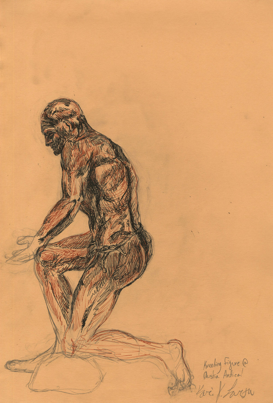 Figure of kneeling man