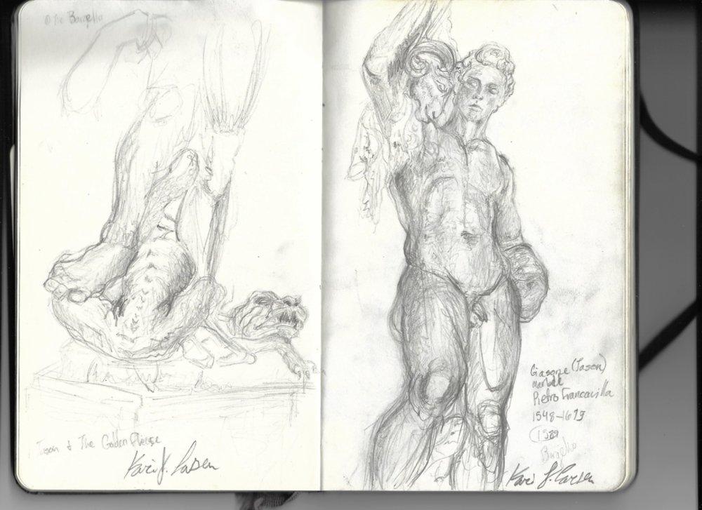 Original sketch of Jason and the Golden Fleece